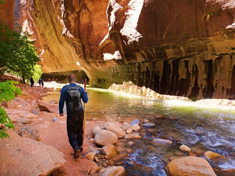 Hiking back along the Narrows in Zion National Park