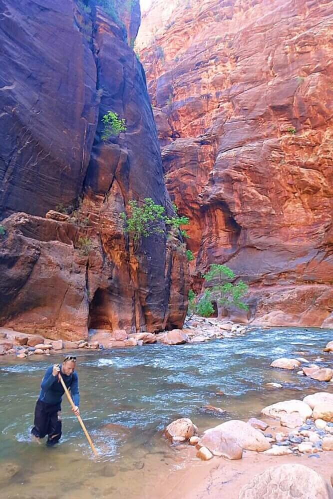 Struggling against the current the Narrows in Zion National Park