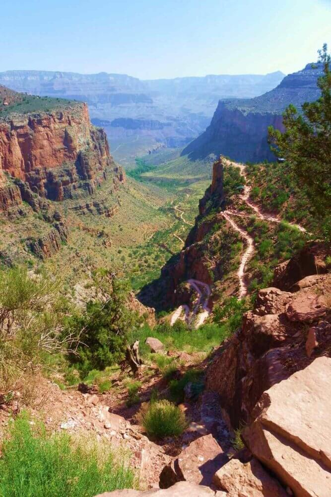 Bright Angel Trail switchbacks seen from south rim of grand canyon