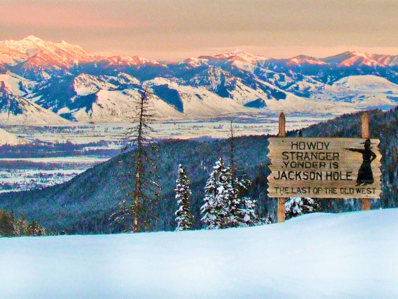 Jackson Hole sign in winter