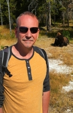 James Ian in Yellowstone with bison