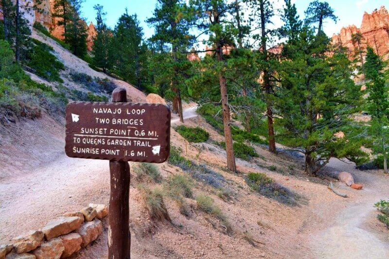 Navajo Trail sign in Bryce Canyon