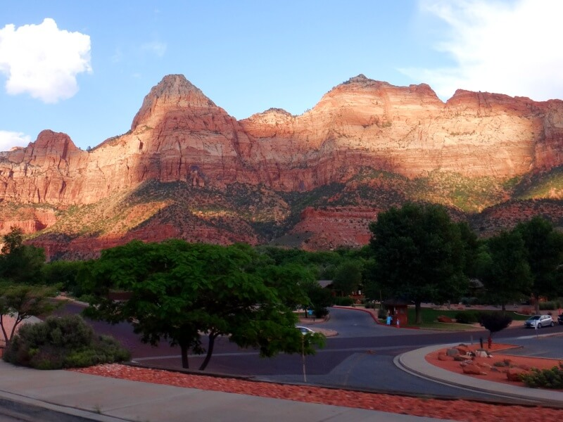 Parking near south entrance to Zion National Park