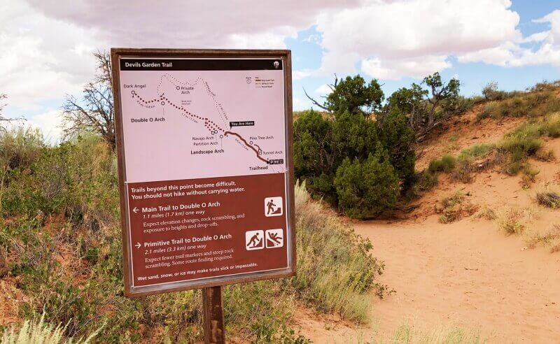 sign-at-start-end-of-primitive-trail-at-main-trail-Devils-Garden-TRail-Arches-National-Park
