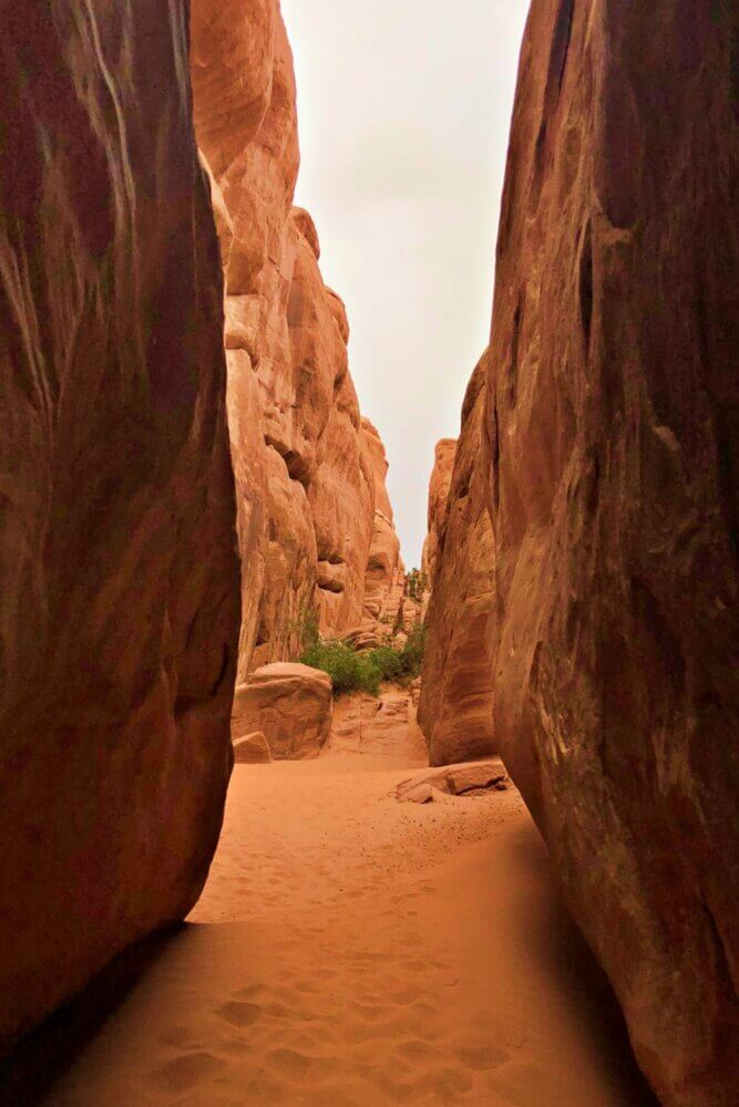 trail to sand dune arch one of the best hikes in arches national park